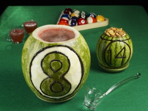 Watermelon 8 Ball Punch Bowl w/ Snack Bowls