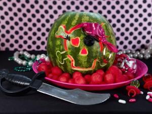 Watermelon Pirate Girl Skull